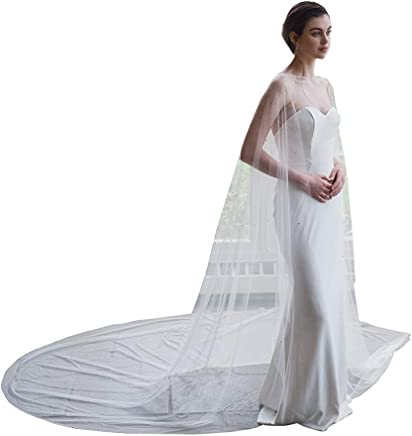 89c156c2e4 300cm Wedding Tulle Bridal Cape Cloak White Long Elegant Veils with Sequins