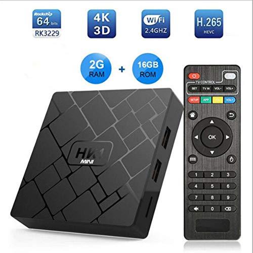 LOISK Decodificador TDT Android 6.0 TV Box DVB-T2/C Digital RK3229 Quad-Core cortex-A53 2GB+16GB Media Player, 4K 3D HD/H.265/MPEG-4 Incorporado 2.4G WiFi, Soporte DLNA CCcam