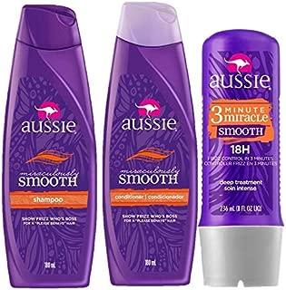 Kit Aussie Miraculously Smooth: Shampoo + Condicionador 180ml + Tratamento Aussie 3 Minute Miracle Smooth Frizz 236ml