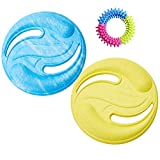 LAVILI Dog Frisbee, Paraflight Frisbee, 2pcs Dog Flying Disc with 1pcs Molars, Soft EVA Material Bright Color Lightweight and Floatable Suitable for Fetch, Catch, Play. Fit for Lawn, Beach, and Pool
