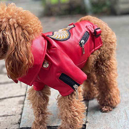 Lovelonglong Hundejacke aus Leder, warm, winddicht, für große, mittelgroße und kleine Hunde, schwarz, braun, rot, M (Small Dog ~8 Lbs), Rot-Adler