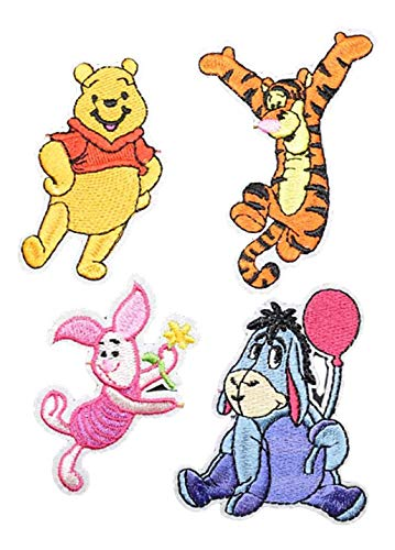 Winnie The Pooh Cartoon Characters Set of 4 Embroidered Patches