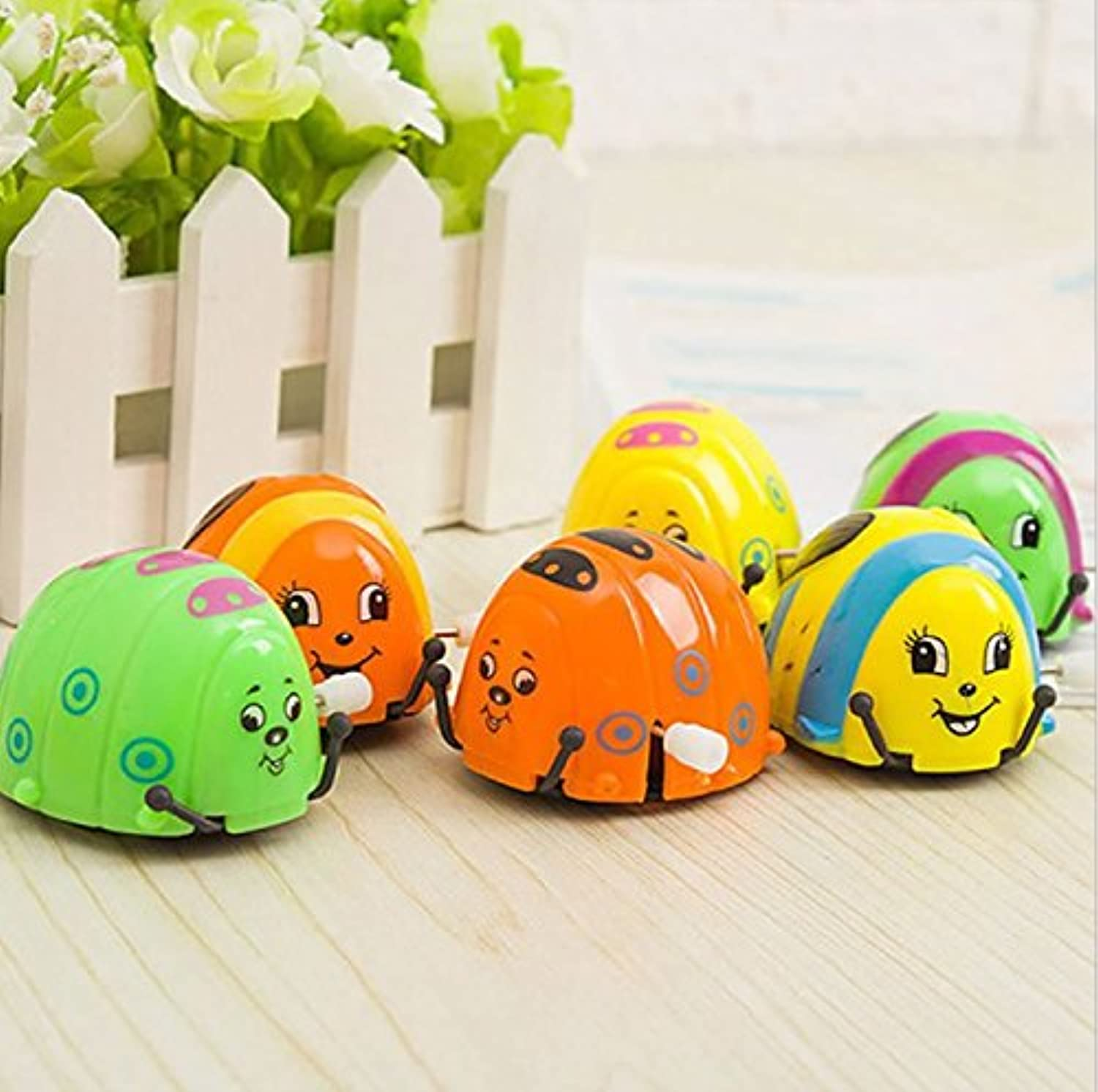 6pcs colorful toys on the chain clockwork beetle little ladybug beetles will run circles will tumble