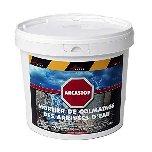 Mortier anti infiltrations eau ciment enduit prise rapide stop fuite béton colmatage Scellement drain réparation tuyau ARCASTOP - Gris - 25 Kg - ARCANE INDUSTRIES