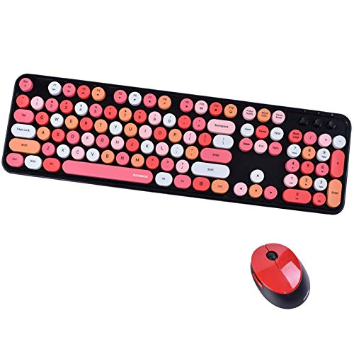 Arcwares Wireless Keyboard and Mouse Combo, 2.4G USB Ergonomic Keyboard, Cute Round Retro Typewriter Keycaps for Computer, Laptop, Desktops, PC, Mac(Red Mixed Style Keyboard + Mouse)