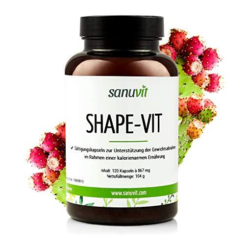 Sanuvit Shape-Vit/Rein pflanzliches Präparat zum Abnehmen mit Glucomannan, Garcinia Cambogia, Kaktusfeige und Chitosan, 120 Kapseln