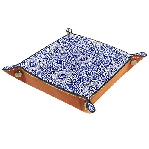 LynnsGraceland Bandeja de Cuero - Organizador - Patrón de Flor geométrica Azul Azulejo - Práctica Caja de Almacenamiento para Carteras,Relojes,Llaves,Monedas,Teléfonos Celulares y Equipos de Oficina