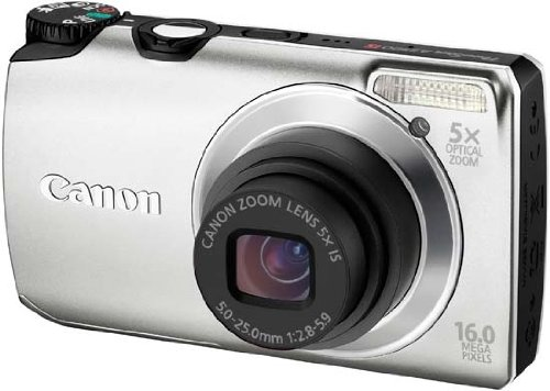 Canon PowerShot A3300 IS Digitalkamera (16 MP, 5-fach opt, Zoom, 7,6cm (3 Zoll) Display, bildstabilisiert) silber