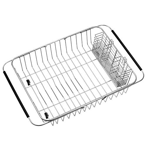 iPEGTOP Expandable Dish Drying Rack with Rustproof Stainless Steel Utensil Cutlery Holder, Over Sink Dish Rack Basket Shelf, Dish Drainer in Sink or On Counter