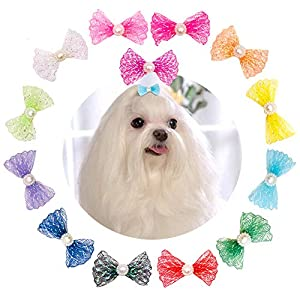 JpGdn 26Pcs/13Pairs Dog Hair Bows for Small Medium Puppy Doggies Cat Rabbit Pet Hair Bow Ties with Rubber Band Hair Flowers Topknot Grooming Accessories Attachment