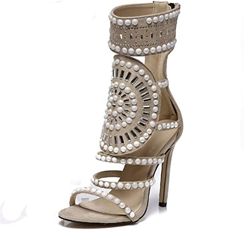 Glintare Bohemia Sandalias de Tobillo para Las mujeres Boho Estilete Peep Toe botas Volver Cremallera decoración con Perlas blancoas de Gamuza sintética zapatos Superiores Elegante