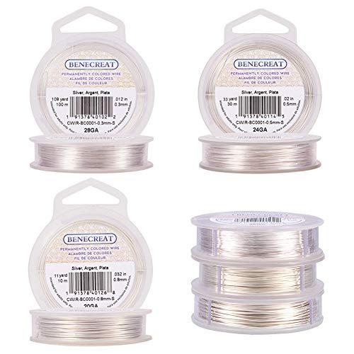 BENECREAT 0.3mm/0.5mm/0.8mm Alambre de Cobre Cable Metal Alambre de Joyería para Manualidad Plateado Calibre 20/24/28, 3 Rollos