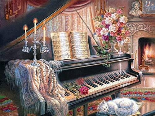 Pintura de diamantes mujer mosaico de diamantes kit de piano bordado arte de la pared círculo completo diamante pintura de diamantes hecha a mano A3 40x50cm