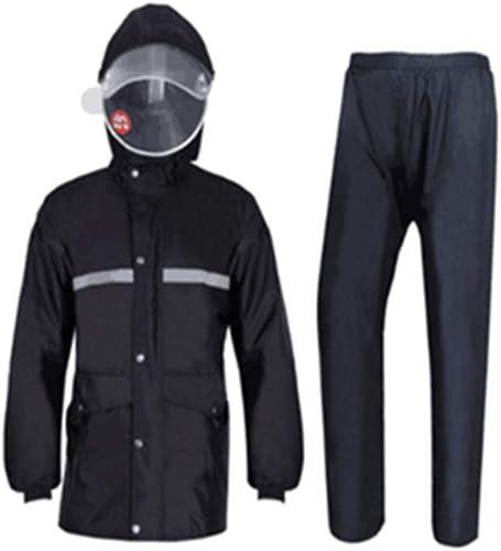 LYQQQQ Vestes Coupe Pluie Pantalon imperméable imperméable Costume imperméable imperméable en Plein air Split Split, Double imperméable Double Bonnet, Noir Imperméable (Couleur   noir, Taille   XXXXL)