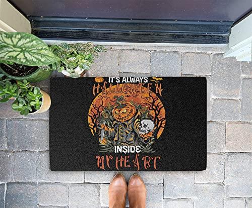 Halloween Doormat - It's Always Halloween Inside My Heart 24x16 Inch Outdoor Front Door Mat Kitchen Mat Floor Welcome Home