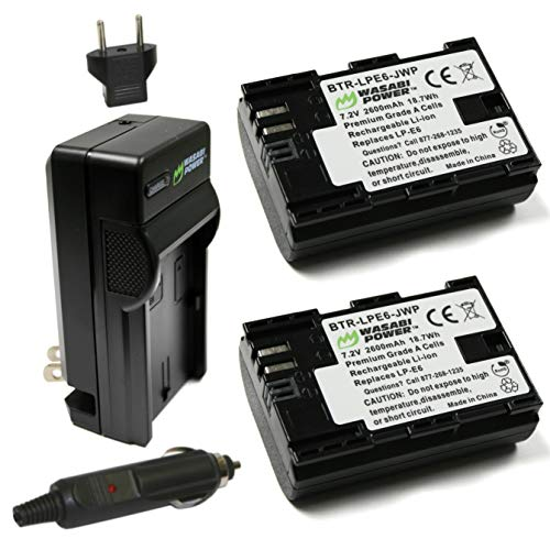 Wasabi Power LP-E6, LP-E6N Battery (2-Pack) and Charger for Canon EOS 5D Mark II/III/IV, EOS 5DS, 5DS R, EOS 6D, 6D Mark II, EOS 7D, 7D Mark II, EOS 60D, 60Da, 70D, 80D, EOS R, EOS R5, XC10, XC15