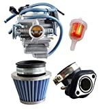 Podoy 150cc Carburetor GY6 26mm Carb with Air Filter Intake Manifold Fuel Filter Kit for Compatible with Roketa SunL Baja Kazuma Taotao Eagle Chinese Go Kart Carb