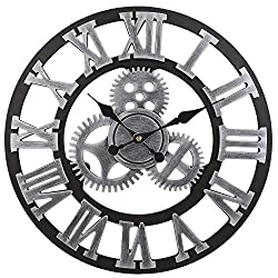 ZQCZ Wall Clock 3D Retro Rustic Decorative Art Big Gear Wooden Vintage Large Handmade Oversized Wall Clock,B,15.7In,Silver,40cm