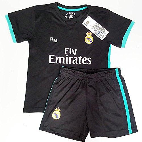 Segunda Equipación Infantil Réplica Oficial del Real Madrid Temporada 17/18, Color Negro (Talla 8)