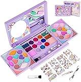 KIDCHEER 47 Kit Maquillaje Niña, Juguete de Maquillaje Lavable Cosmético Real con Pinceles, Espejos y Pegatinas de Gemas para Regalos de Cumpleaños de Niños de 3 4 5 6 7 8 9 10 Años