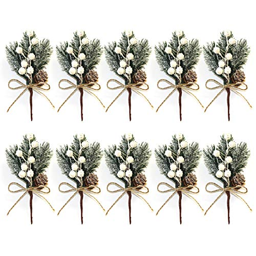 SUREH 10pcs White Christmas Berries Stems 5.9inch Small Artificial Pine Picks and Sprays Xmas Berry Picks with Pine Cones Holly Berry Christmas Flower Ornaments for Xmas Wreaths Home Vase Decor