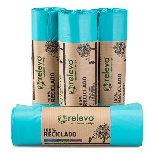 RELEVO 100% Reciclado Bolsas de Basura, extra resistentes 20 L, 60 bolsas, azul
