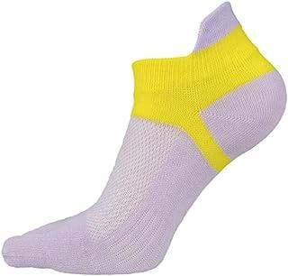 Algodón De Malla Transpirable Con Calcetines De Cinco Dedos @ Luz Púrpura-Amarilla (Hembra) _Código Masculino Y Femenino