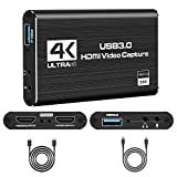 Tarjeta de grabación de audio y vídeo HDMI a USB 3.0, 1080p 60 fps con salida de bucle, entrada USB-C, salida de 4 K a 4 K, compatible con Windows Os Linux, ordenador portátil para Xbox Mac PS4 PS5