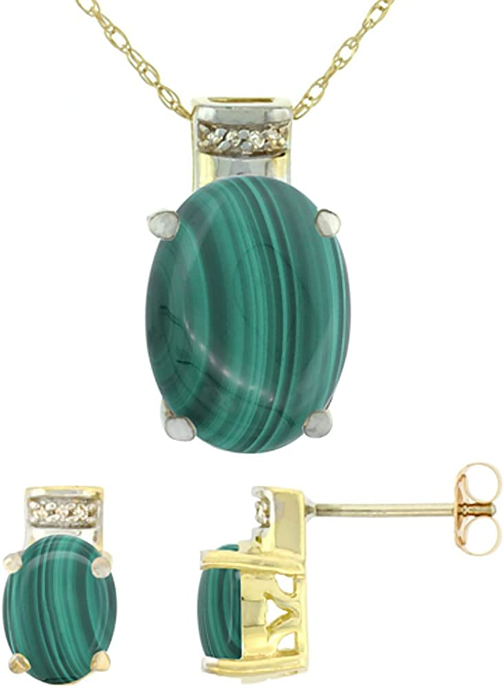 10K Yellow Gold Diamond Natural Malachite Earring Necklace Set Oval 8x6mm & 14x10mm, 18 inch long
