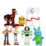 Lev Toy Story Toys - Set of 7 pcs Woody, Buzz and Jessie Mini Figures - Premium Animated Collection - Fun Party Supplies - Birthday Cake Topper Set - Size 1.2 - 2.8 inches