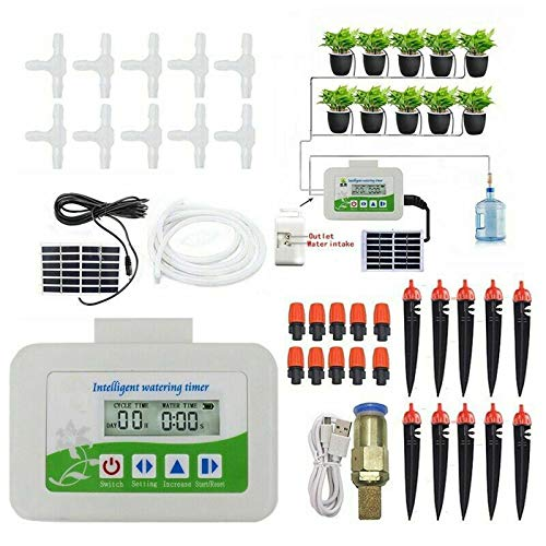 Solar Automatic Watering Device Smart Irrigation Timer Water Pump Garden Plant Self Drip Irrigation Solar Energy Charging Timer System Potted Plant Drip Irrigation for Potted Plants Flower Vegetables