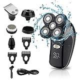 Afeitadora eléctrica 5 EN 1 Impermeable 4D Navaja flotante USB Afeitadora de cabeza calva recargable con cortapelos Recortador de barba Nariz Recortador de cabello Cepillo de limpieza facial
