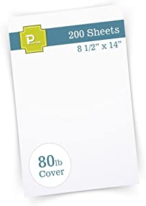 """Printure Pure White Legal Size Cardstock (8 1/2"""" X 14"""") - Heavyweight 80lb Cover - Great for Menu Paper, Documents, & Programs (200 Sheets)"""