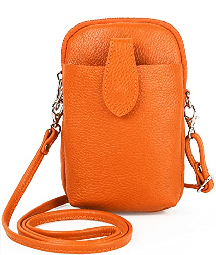 Bolso bandolera de piel para mujer, pequeño bolso de mano para el teléfono móvil y el hombro para mujer, color Naranja, talla Einheitsgröße