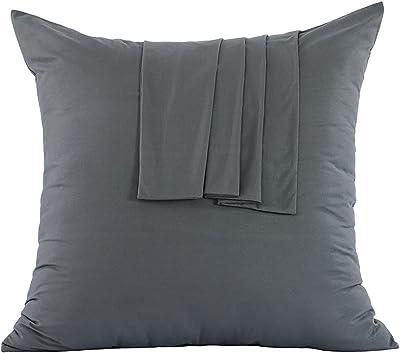 Ruikasi Kissenbezüge 65 x 65 cm, Dunkelgrau – 2 Kissenbezüge aus gebürsteter Mikrofaser, Kissenbezug mit Reißverschluss