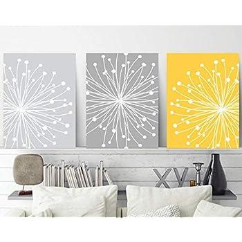 Amazon Com Blafitance Dandelion Wall Art Yellow Gray Wall Art Dandelion Canvas Or Prints Master Bedroom Wall Decor Bathroom Decor Set Of 3 Floral Home Decor Posters Prints