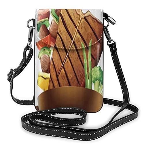 ADONINELP Leder Handytasche Umhängetasche Steak Grill auf Stöcken hinter dem leeren Banner Kleine Umhängetasche Handy Geldbörse Geldbörse Handtaschen Umhängetasche Handytasche Tasche für Frauen Mädch