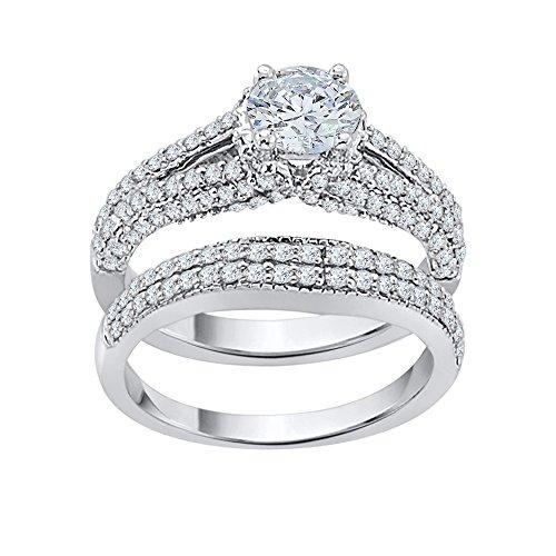 Diamante solitario conjunto de novia en oro de 14 quilates (1 1/2 cttw) (Color-JK) (Claridad-SI2/I1)