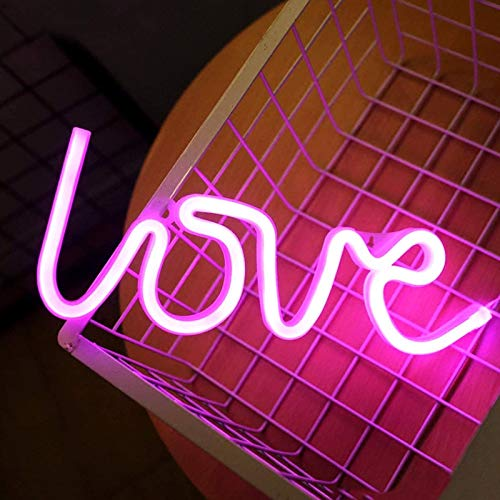 Love Neon Signs for Wall Decor,USB or Battery Decorative Neon Lights, LED Signs for Bedroom,LED Neon Light Neon Sign Light Up for Bar,Christmas,Party,Wedding,Kids Room,Girls Living Room(Pink)