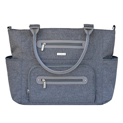 JJ Cole Caprice Stylish Diaper Bag with No Slip Grips and multiple pockets, Gray Heather