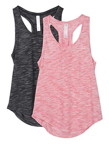 icyzone Camiseta sin Mangas de Yoga para Mujer Chaleco Deportivo, Pack de 2 (S, Negro/Rojo)