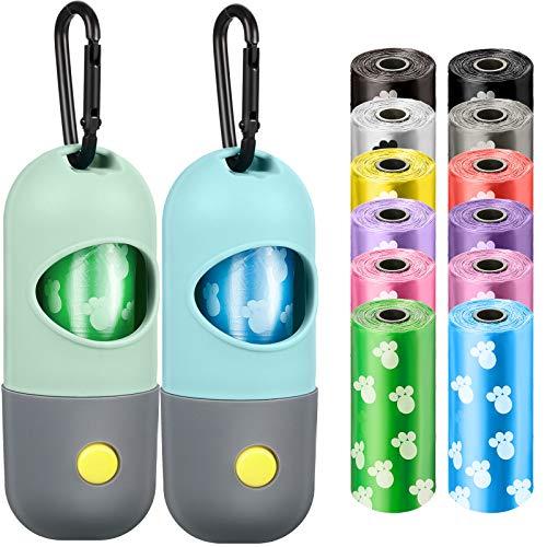 Dispensador de bolsas de basura para perros con linterna LED y 12 rollos