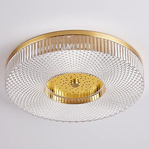 Luz De Techo LED Lámpara de Techo de Cristal Moderna de Forma Redonda Accesorio de Luces de Montaje Empotrado Cuerpo de Lámpara de Cobre 3 Colores para Sala de Estar, Dormitorio y Sala de Estudio