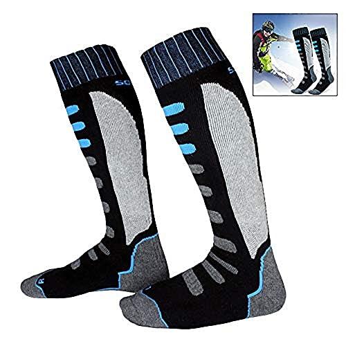 Xrten Lot de 2 Paires Chaussettes de Contention Femme et Homme, Chaussettes de Ski Snowboard, Chaussette de Sport d'hiver Contrôle de l'Humidité Anti-Odeur Anti-Bactérienne