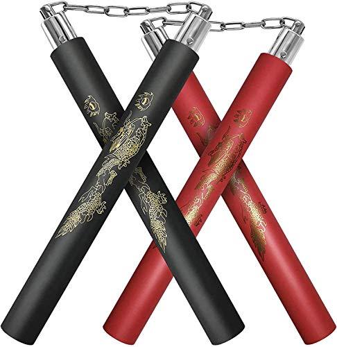 REALHUNLEE Nunchucks,Safe Foam Rubber Training Nunchucks/Nunchakus with Steel Swivel Chain(Black+Red)