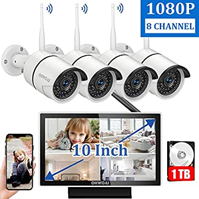 ?8CH Expandable?Wireless Security Camera System with 10 Inch Monitor,OHWOAI 10 Inch Screen Wireless Home Surveillance Camera System 1TB Hard Drive Pre-installed,4pcs 1080P 2.0MP Indoor/Outdoor Wireles