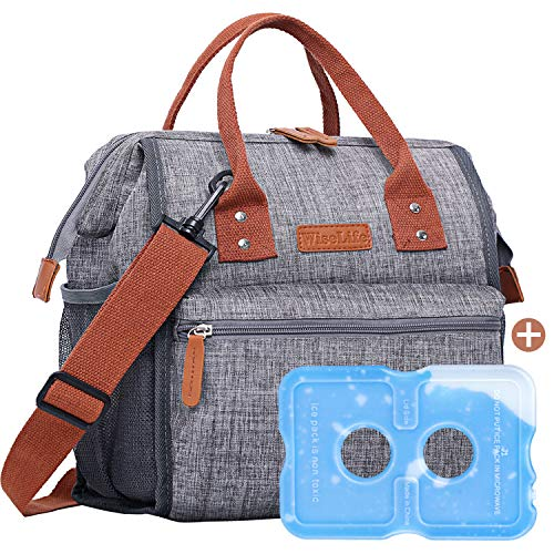 WiseLife Lunch Box Insulated Lunch Bag with Ice Pack for Women Adult Waterproof Leakproof Lunch Tote Large Picnic Bag w/Bottle Side Pocket Thermal Lunch Cooler Bag for Work School