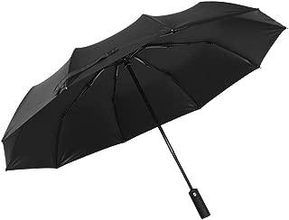 Windproof Travel Umbrella with Teflon Coating Anti UV 10 Ribs Sun & Rain Umbrella (Black)