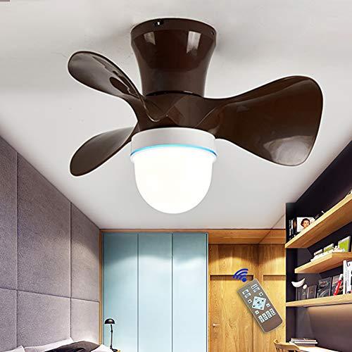 Moderna 36W LED Ventilador De Techo Con Lámpara,Con Mando A Distancia Regulable Luz Ventilador Invisible, Velocidad Del Viento Ajustable,Decoración De Interiores Plafón Iluminación, Ø55cm, Marrón
