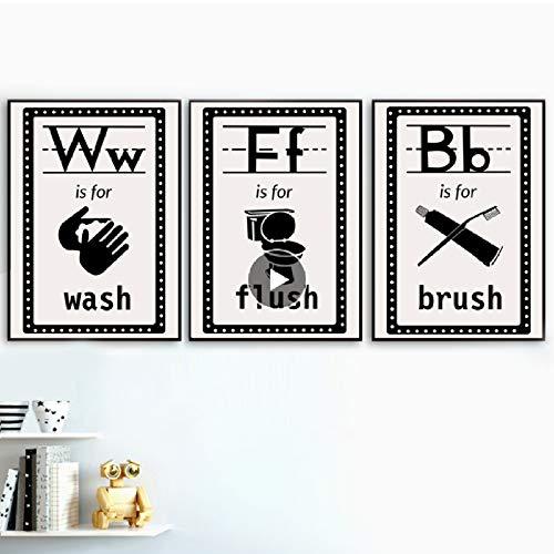 SDFSD Handwastafel, toiletborstel, kunst, muurschildering op canvas, poster en druk, Scandinavische afbeeldingen, wandschilderijen voor de woonkamer, decoratie voor de badkamer 30*40cm E